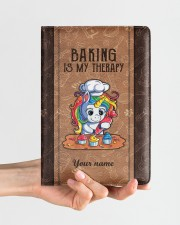 Baking Is My Therapy Medium - Leather Notebook aos-medium-leather-notebook-lifestyle-front-01