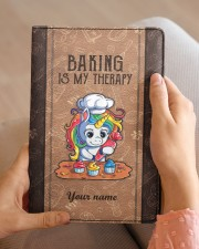 Baking Is My Therapy Medium - Leather Notebook aos-medium-leather-notebook-lifestyle-front-04