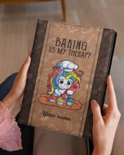 Baking Is My Therapy Medium - Leather Notebook aos-medium-leather-notebook-lifestyle-front-07