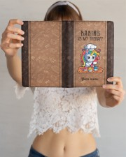 Baking Is My Therapy Medium - Leather Notebook aos-medium-leather-notebook-lifestyle-front-12