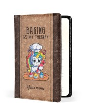 Baking Is My Therapy Medium - Leather Notebook front