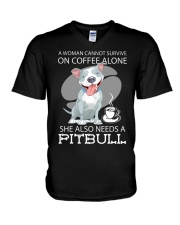 Pitbull Coffee V-Neck T-Shirt thumbnail