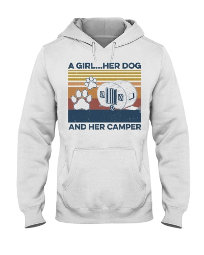 Camping A Girl Her Dog