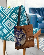 Starry Night Cat Leather Pattern Print All-over Tote aos-all-over-tote-lifestyle-front-01