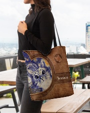 Starry Night Cat Leather Pattern Print All-over Tote aos-all-over-tote-lifestyle-front-04