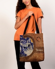 Starry Night Cat Leather Pattern Print All-over Tote aos-all-over-tote-lifestyle-front-06