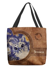 Starry Night Cat Leather Pattern Print All-over Tote front