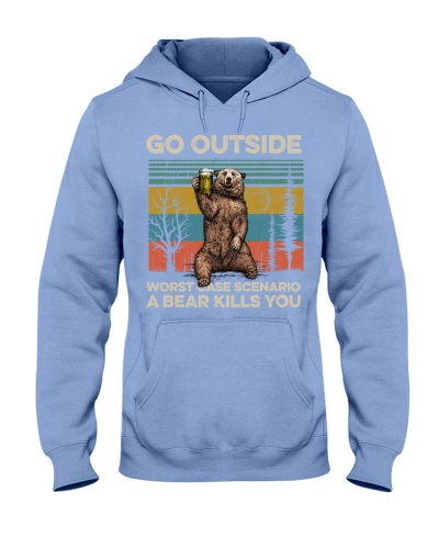 Camping Bear Go Outside - Hoodie And T shirt