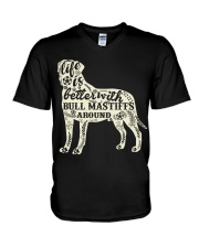 Life is better with bull mastiffs around V-Neck T-Shirt thumbnail
