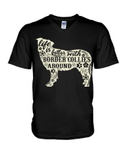 Life is better with boder collies around V-Neck T-Shirt thumbnail