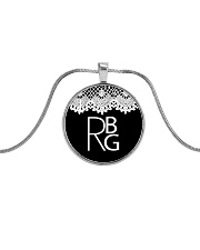 Feminist RBG Metallic Circle Necklace tile