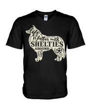 Life is better with shelties around V-Neck T-Shirt thumbnail
