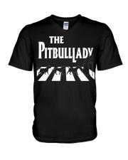 The pitbull lady V-Neck T-Shirt tile