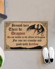 """Dragon Beyond Here There Be Dragons Doormat 22.5"""" x 15""""  aos-doormat-22-5x15-lifestyle-front-07"""