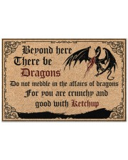 """Dragon Beyond Here There Be Dragons Doormat 22.5"""" x 15""""  front"""