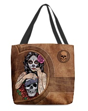Skull Girl Leather Pattern Print All-over Tote back