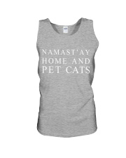 Namast'ay home and pet cat Unisex Tank tile