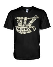 Life is better with sloths around V-Neck T-Shirt tile