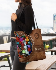 Game Bag Of Holding Leather Pattern Print All-over Tote aos-all-over-tote-lifestyle-front-04