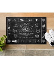"""Game Welcome To Roll For Initiative Doormat 34"""" x 23"""" aos-doormat-34-x-23-lifestyle-front-12"""