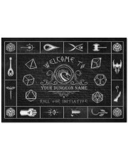 """Game Welcome To Roll For Initiative Doormat 34"""" x 23"""" front"""