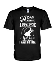 A day without bostons V-Neck T-Shirt thumbnail