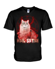 Hail satan V-Neck T-Shirt thumbnail