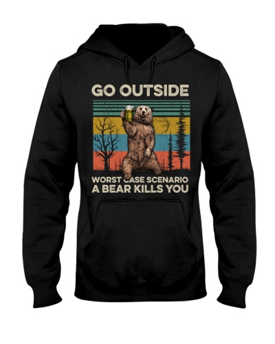 Camping Bear Go Outside - Hoodie And T shirt-promo