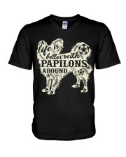 Life is better with papilons around V-Neck T-Shirt thumbnail