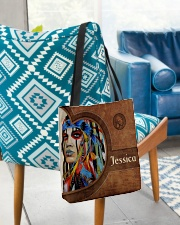 Native American Girl Leather Pattern Print All-over Tote aos-all-over-tote-lifestyle-front-01