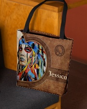 Native American Girl Leather Pattern Print All-over Tote aos-all-over-tote-lifestyle-front-02