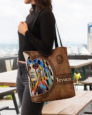 Native American Girl Leather Pattern Print All-over Tote aos-all-over-tote-lifestyle-front-04