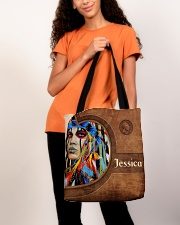 Native American Girl Leather Pattern Print All-over Tote aos-all-over-tote-lifestyle-front-06