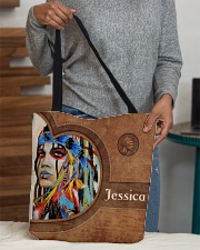 Native American Girl Leather Pattern Print All-over Tote aos-all-over-tote-lifestyle-front-10