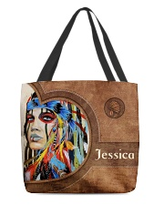 Native American Girl Leather Pattern Print All-over Tote front