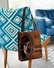 Skull Girl Leather Pattern Print All-over Tote aos-all-over-tote-lifestyle-front-01