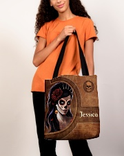 Skull Girl Leather Pattern Print All-over Tote aos-all-over-tote-lifestyle-front-06