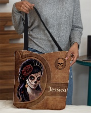 Skull Girl Leather Pattern Print All-over Tote aos-all-over-tote-lifestyle-front-10