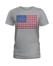 shiba inu flag Ladies T-Shirt tile