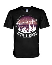Camping hair don't care V-Neck T-Shirt thumbnail