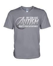 My son has Autism V-Neck T-Shirt thumbnail