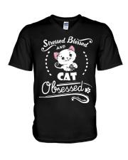 cat obsessed V-Neck T-Shirt thumbnail