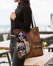 Skull Girl Leather Pattern Print All-over Tote aos-all-over-tote-lifestyle-front-04