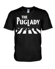 the pug lady V-Neck T-Shirt thumbnail