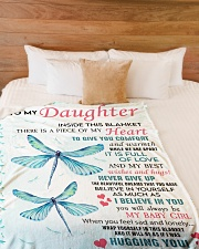 """Family To My Daughter Large Fleece Blanket - 60"""" x 80"""" aos-coral-fleece-blanket-60x80-lifestyle-front-02"""