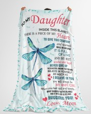 """Family To My Daughter Large Fleece Blanket - 60"""" x 80"""" aos-coral-fleece-blanket-60x80-lifestyle-front-10"""