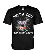 Just a girl who loves goats V-Neck T-Shirt thumbnail
