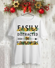 Easily distracted by sunflowers Classic T-Shirt lifestyle-holiday-crewneck-front-2