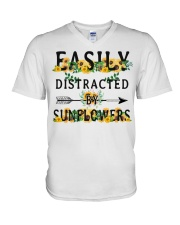 Easily distracted by sunflowers V-Neck T-Shirt thumbnail