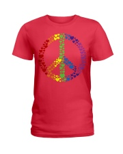 Peace Sign Rainbow Hearts Ladies T-Shirt thumbnail